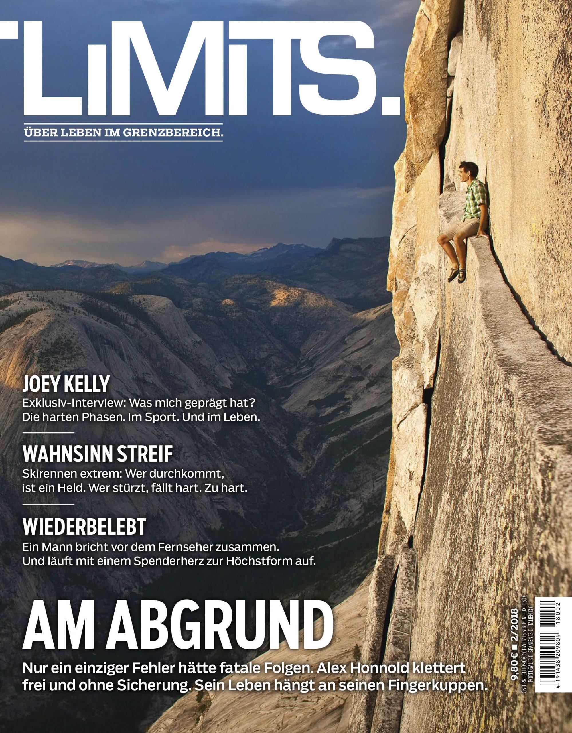 Titel Magazin LIMITS, der Exremkletterer Alex Honnold sitzt auf einem Felsvorsprung an einer senkrechten Felswand