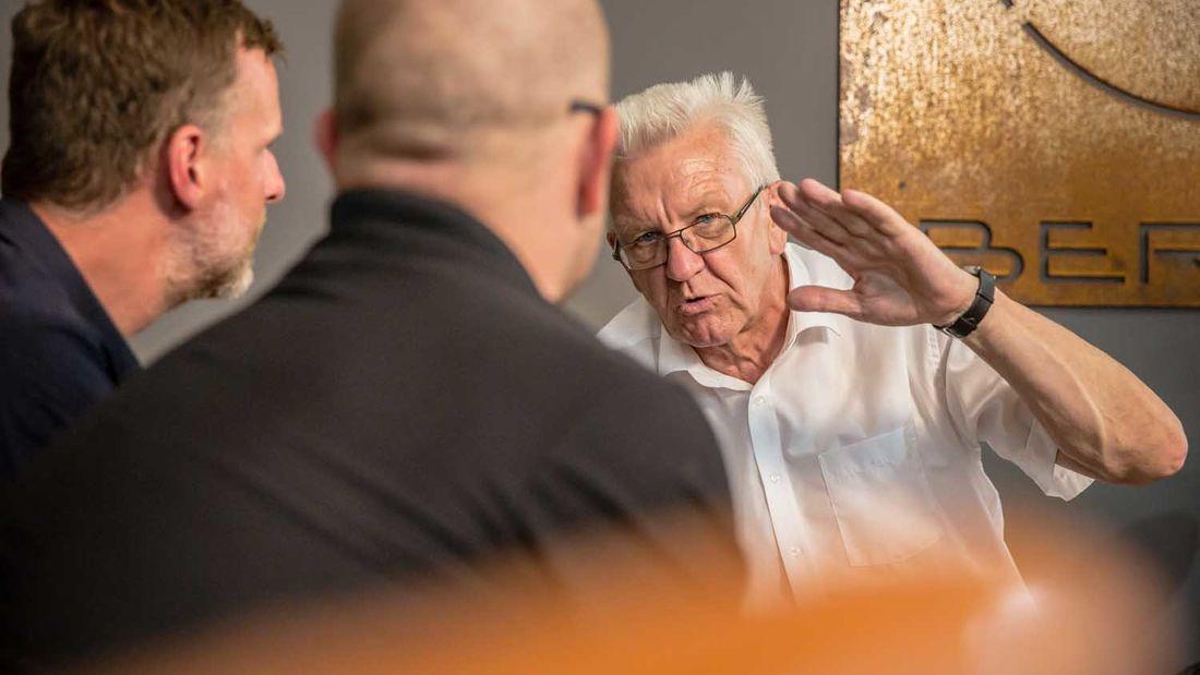 Der baden-württembergische Ministerpräsident Winfried Kretschmann im Interview mit Jens Vögele
