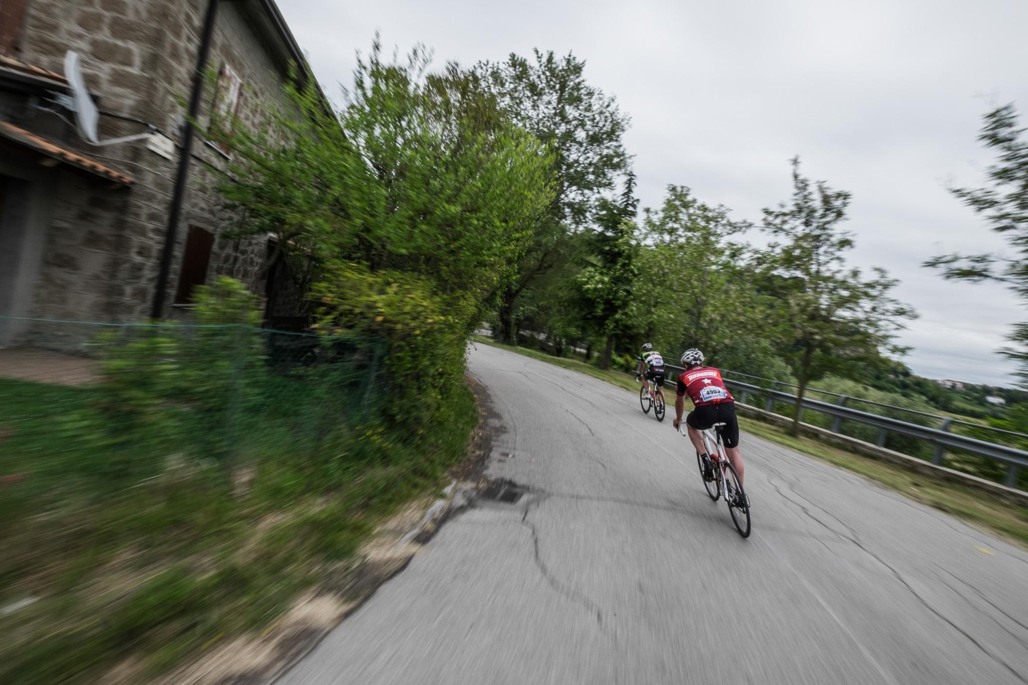 Rennradfahrer auf einer rasanten Abfahrt.
