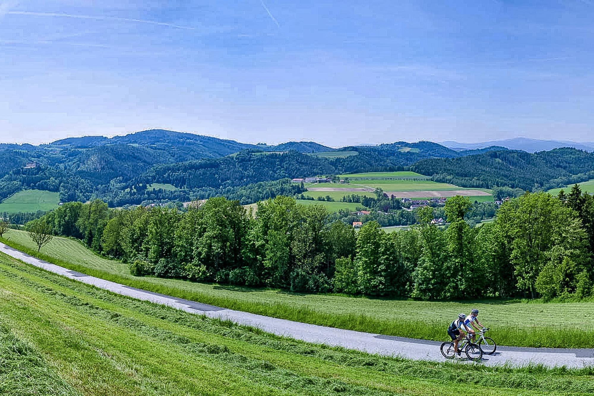 Zwei Rennradfahrer in der Buckligen Welt
